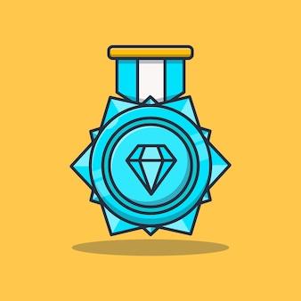 Design di illustrazione vettoriale di successo con medaglia di diamante di concetto premium