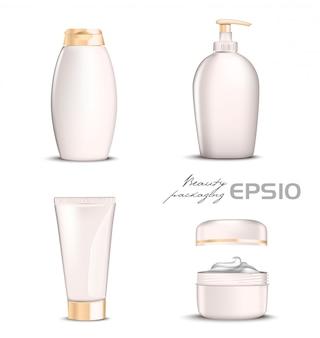 I cosmetici premium creano un colore rosa chiaro su sfondo bianco. bottiglia illustrativa per shampoo, confezione per sapone pacchetto tondo aperto con crema all'interno, tubo per dentifricio o cosmetico