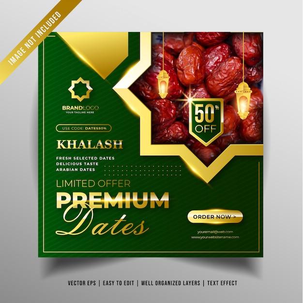 Banner di design per date premium per la promozione sui social media