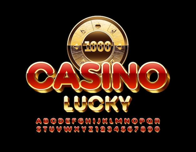 Premium emblem casino lucky. carattere moderno chic. lettere e numeri dell'alfabeto rosso e dorato di lusso