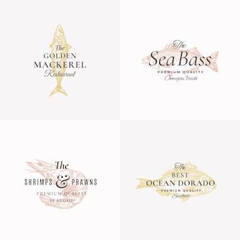 Set di modelli di logo, simboli o segni astratti di pesce e frutti di mare premium. isolato