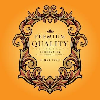 Ornamenti calligrafici con cornice premium premium