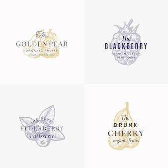 Set di modelli di logo, simboli o segni astratti di frutti e bacche premium. eleganti schizzi disegnati a mano di mela, pera, mora, sambuco e ciliegia con tipografia retrò. emblemi d'epoca.