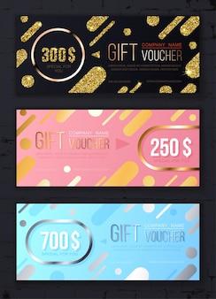 Modello di buono regalo premium con motivo moderno con glitter dorati e argentati