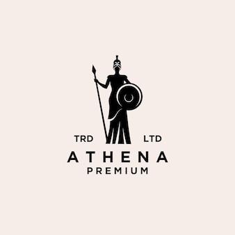Premium dea athena linea vettoriale logo illustrazione design isolato sfondo