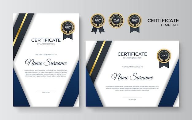 Modello di certificato di apprezzamento oro e blu premium, design moderno e pulito con badge oro