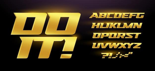 Carattere dorato di alta qualità. alfabeto sportivo corsivo premium. lettere per gare, giochi, automobili, casinò, slot machine. progettazione di tipografia.