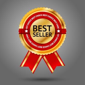 Testo di etichetta best seller dorato e rosso premium intorno ad esso. isolato su sfondo grigio