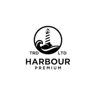 Premium harbour in un cerchio con design logo nero vettoriale oceano