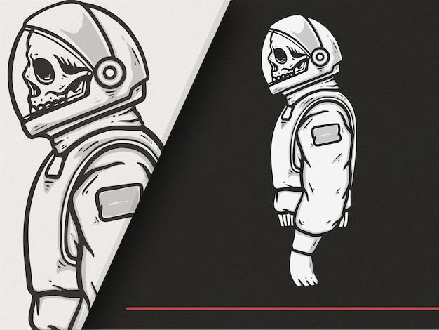 Illustrazione premium di stile astronauta teschio