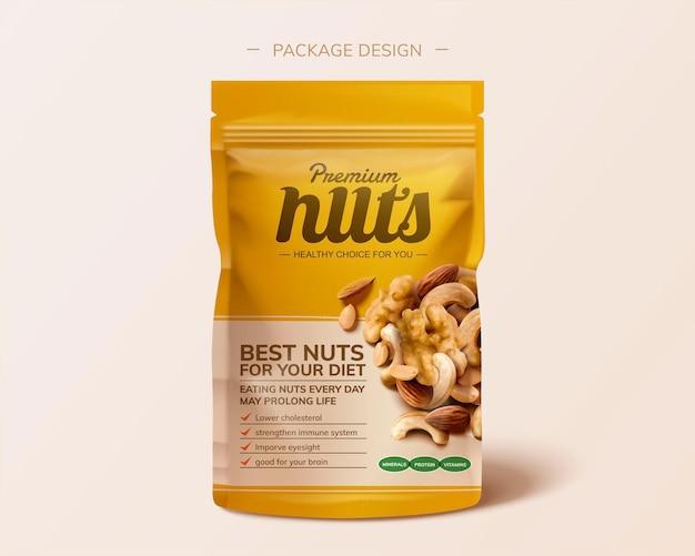 Design del pacchetto di noci integrato premium in illustrazione 3d su sfondo rosa