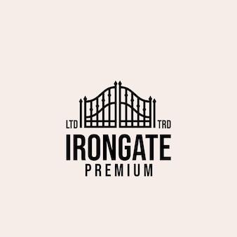 Design del logo vettoriale del cancello in ferro di alta qualità