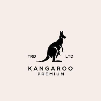 Premium canguro wallaby nero logo vettoriale design