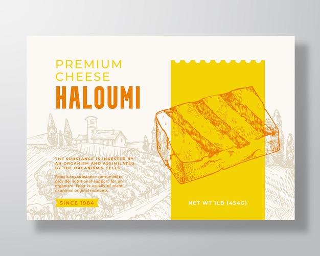 Modello di etichetta per alimenti haloumi locale premium. disposizione di disegno di imballaggio di vettore astratto. banner di tipografia moderna con pezzo di formaggio disegnato a mano e sfondo di paesaggio rurale. isolato.