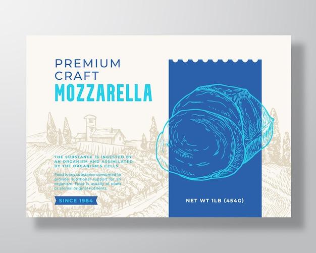 Modello di etichetta per alimenti mozzarella locale premium modello astratto vettoriale packaging design layout moderno typograp...