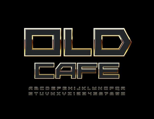 Logo premium old cafe nero e oro elegante font elite alfabeto lettere e numeri impostati
