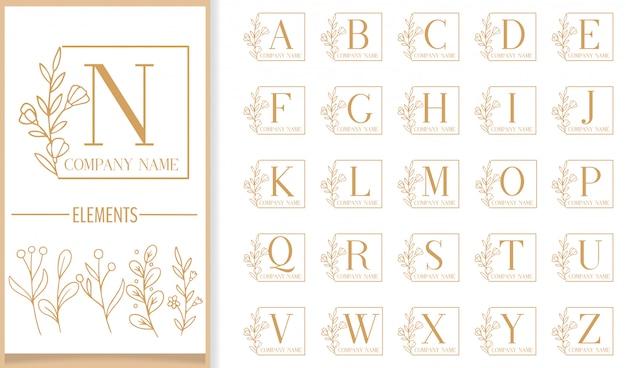 Modello di logo di lusso premium floreale cornice lettera