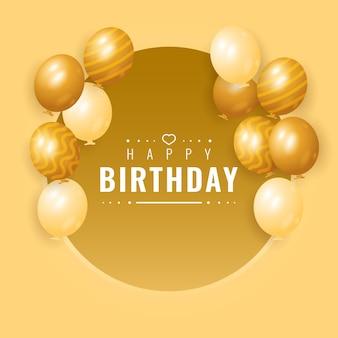 Design di banner di buon compleanno di lusso premium