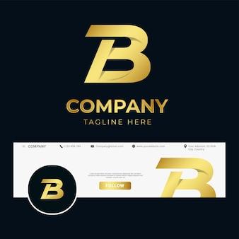 Modello di logo b lettera iniziale di lusso premium per azienda