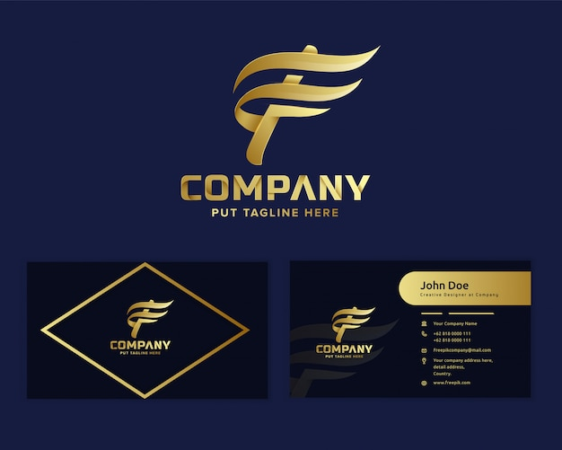 Logo f iniziale di lusso premium con lettera per l'avvio dell'attività e l'azienda