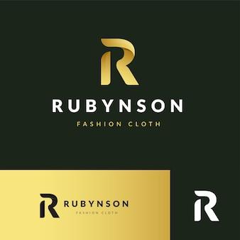 Design del logo r iniziale con lettera di lusso premium