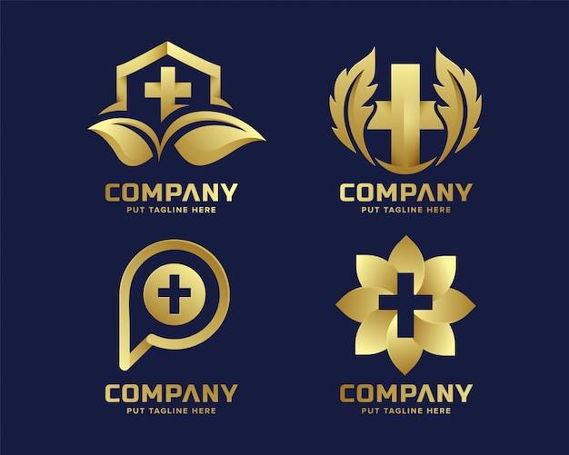 Modello di logo di ospedale medico di lusso premium per azienda