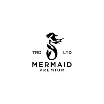 Illustrazione premium del design dell'icona del logo della sirena