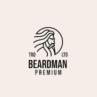 Disegno di marchio di vettore di uomo barba vecchia premium