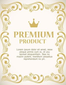 Etichetta del prodotto premium con cornice decorativa in oro di lusso