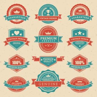 Prodotti premium in etichette di design vintage.