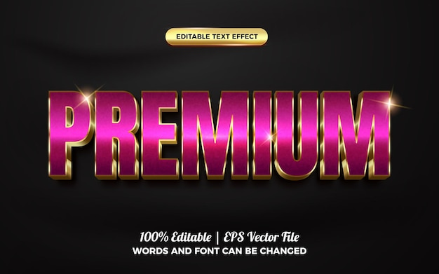 Effetto di testo modificabile 3d oro di lusso viola premium