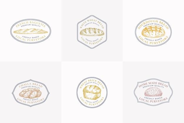 Segni di vettore di pane di qualità premium o collezione di modelli di logo disegnati a mano pagnotte di mattoni challa e ba...