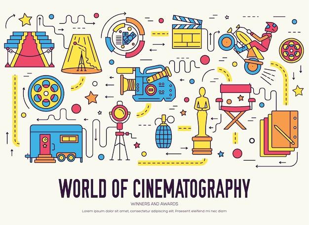 Set di design sottile per l'industria cinematografica di qualità premium