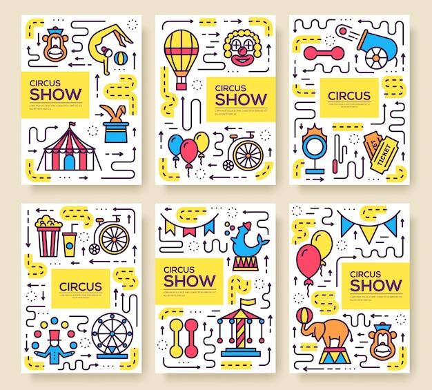 Set di infografica icone di contorno di circo di qualità premium