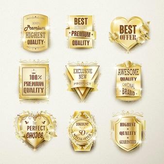 Collezione di etichette dorate eleganti di alta qualità su beige