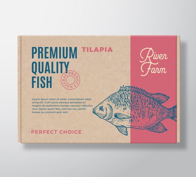 Scatola di cartone realistica di pesce di qualità premium. packaging mockup