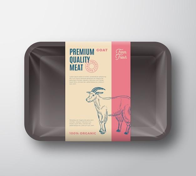Pacchetto di capra di qualità premium. contenitore di plastica di vettore astratto carne vassoio con copertura in cellophane.