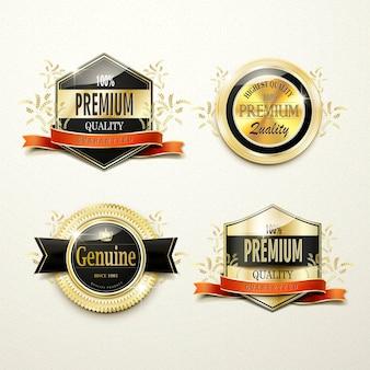 Splendida collezione di etichette dorate di alta qualità su beige