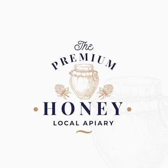 Modello di logo di miele di qualità premium.