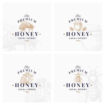 Simboli di segni di miele di qualità premium o modello di logo