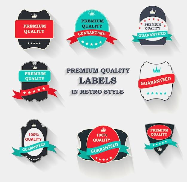 Set di etichette di qualità premium in design piatto moderno con una lunga ombra