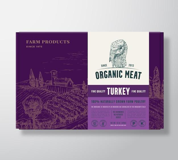 Il pollame di qualità premium simula il design dell'etichetta per l'imballaggio di carne organica su una scatola di cartone conte...