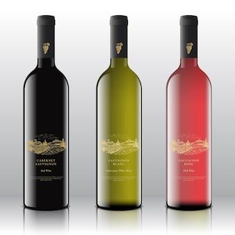 Etichette di vino rosso, bianco e rosa di qualità premium impostate sulle bottiglie realistiche.