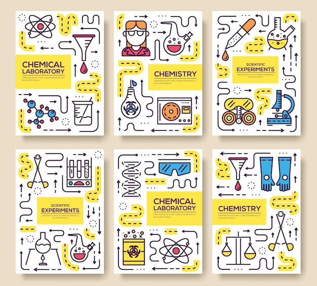 Set di linee sottili di carte scientifiche di alta qualità