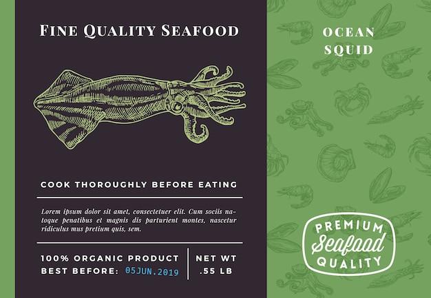Modello di imballaggio di calamari di pesce di qualità premium