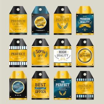 Collezione di etichette dorate scintillanti di alta qualità su grigio