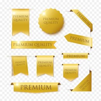 Distintivi ed etichette di vettore di qualità premium isolati su fondo nero. banner di lusso d'oro.