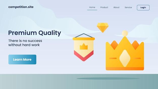 Qualità premium con slogan non c'è successo senza un duro lavoro per l'illustrazione vettoriale della homepage di atterraggio del modello di sito web