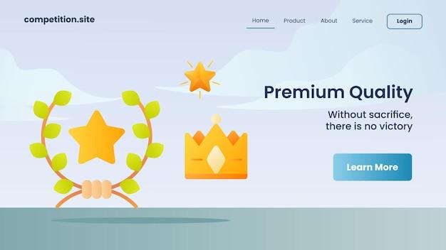 Qualità premium con slogan senza sacrificio non c'è vittoria per l'illustrazione vettoriale della homepage di atterraggio del modello di sito web
