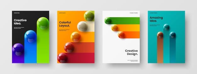 Composizione di concetto di identità corporativa di palle realistiche premium